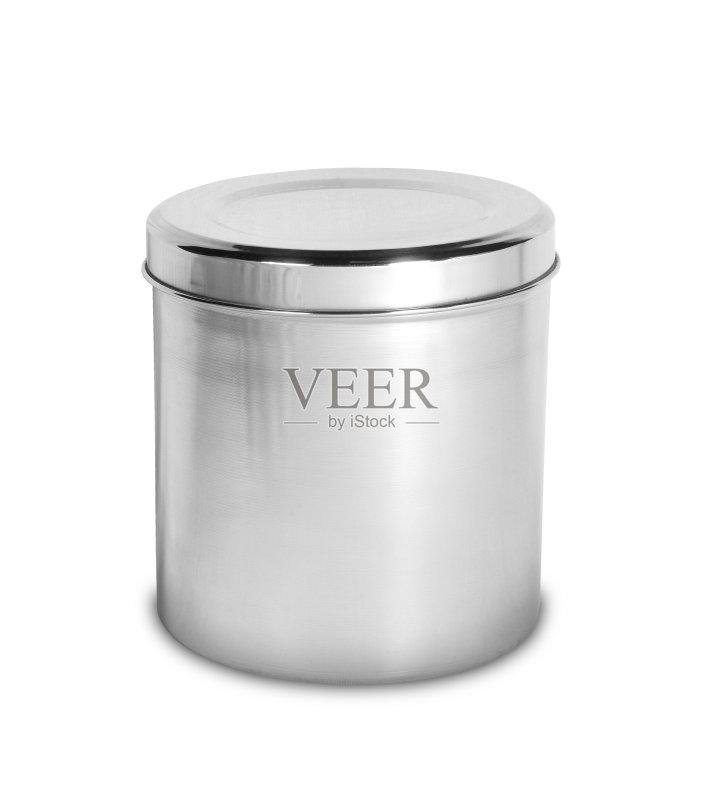 金 白色背景 圆柱体 无人 门插销 钢铁 厨房 食品 反射 小罐 罐子图片