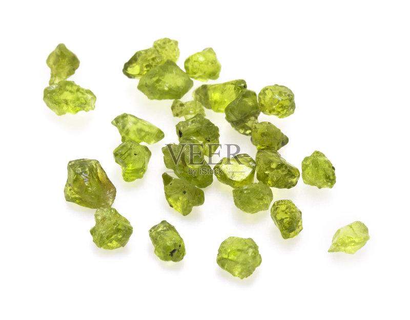 视频 粗糙的 矿物质 大量物体 宝石 白色 绿色 橄榄石 半贵重宝石 光
