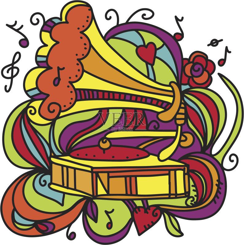 符号 式样 涂鸦 白色背景 音乐符号 情感 音乐 技术 艺术文化和娱乐 图片