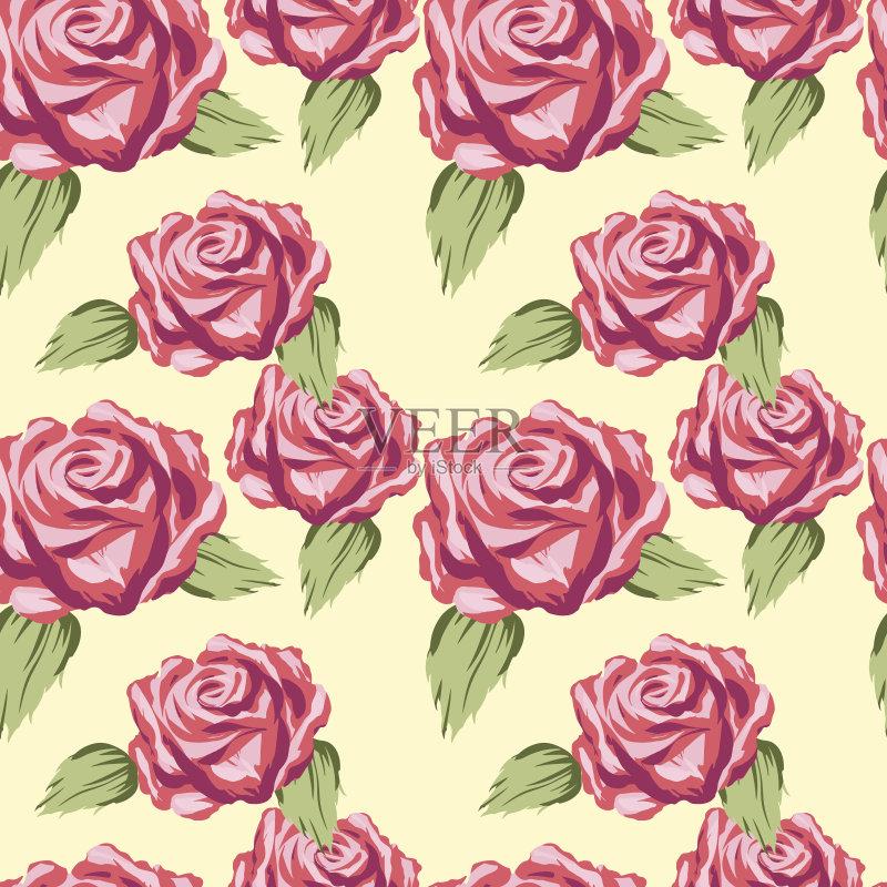计算机制图 玫瑰 剪贴画 背景 自然美 绿色 绘画插图 美 橙色 无缝的样