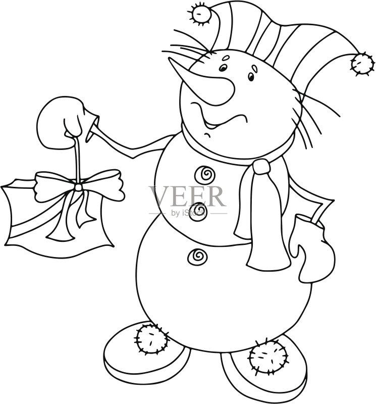 草图-节日 设计 白色 冬天 卡通 轮廓 符号 式样 蝴蝶结 形状 问候 白色背