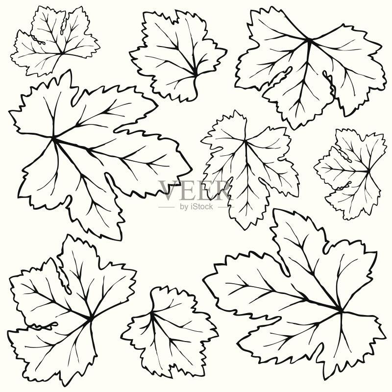 草图-铅笔画 秋天 设计 卡通 肖像 轮廓 叶子 符号 式样 手 自然 画画 装