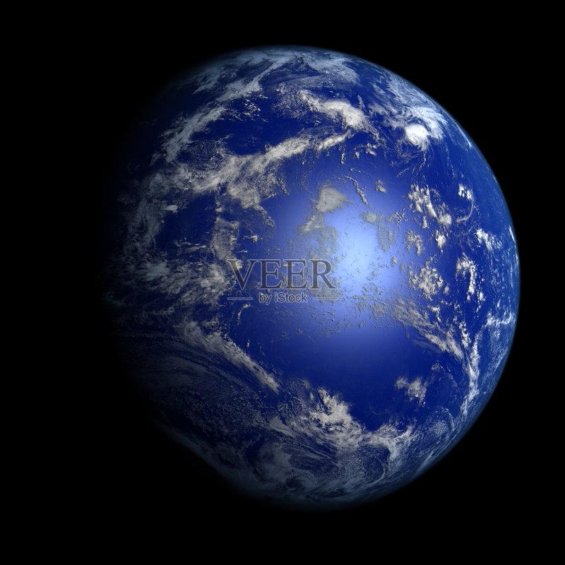 完美 行星 地球 轨道运行 纯净 云 海洋 平流层 天文学