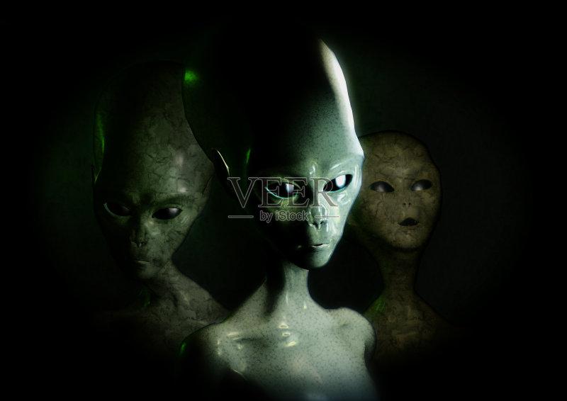 三个人 神秘 外星人 科学 丑陋 绑架 想象 幻想 怪异