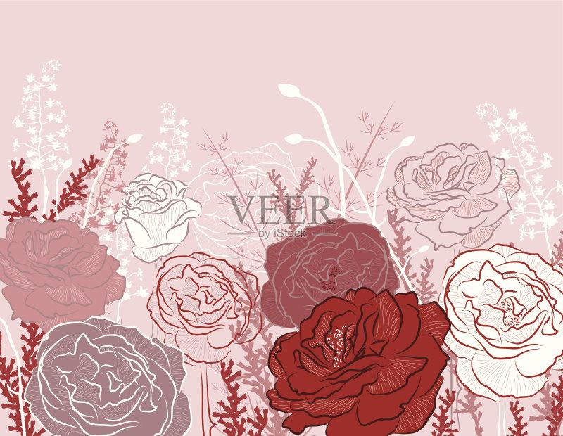 然 艺术 花 蜡笔画 华丽的 矢量 玫瑰 背景 创造力