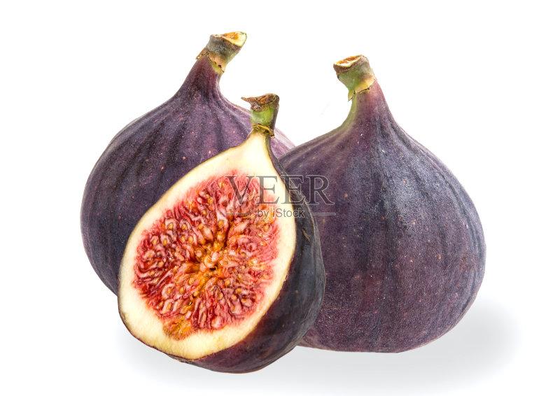 无花果 水果 无人 饮食 健康食物 食品 清新 甜食 月桂树叶 紫色 横截面