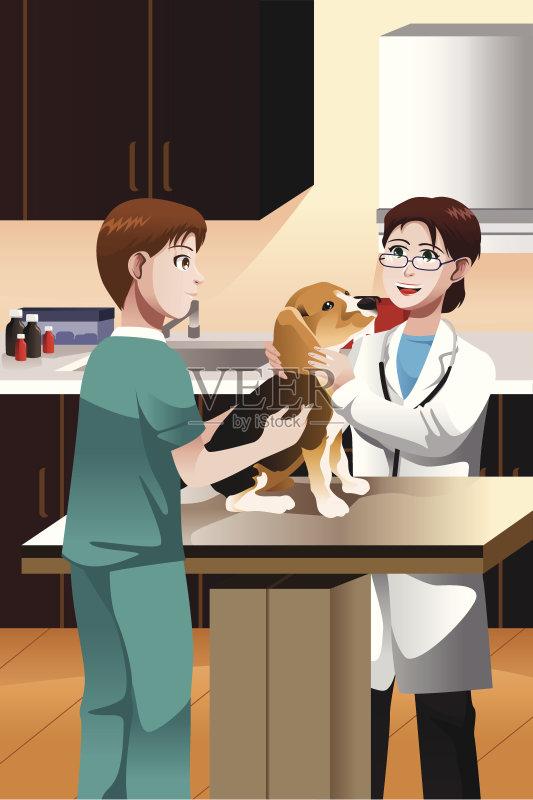 护士 女性 剪贴画 工作 小狗 现代 动物诊疗室 宠物 绘画插图 狗 医疗