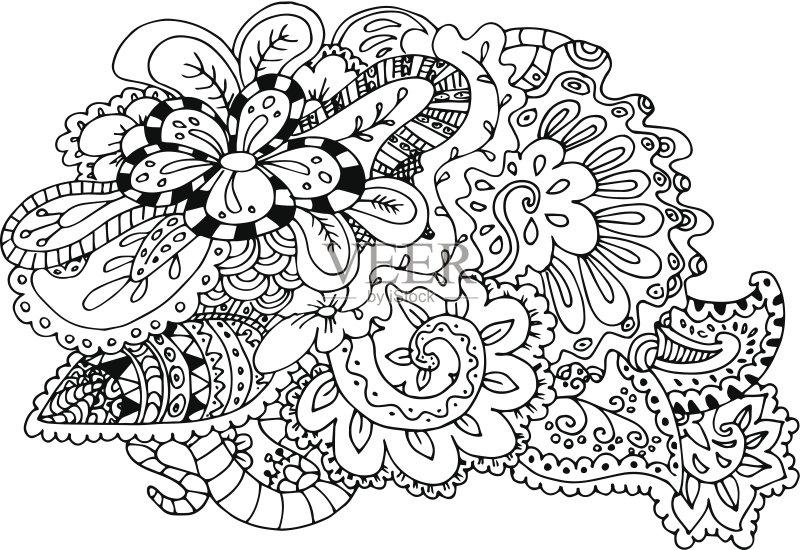 铅笔画 成一排 式样 卷发 背景幕 装饰 弯曲 重复 部分 计算机制图 未经图片