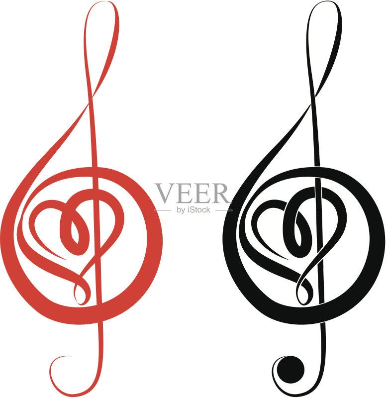 高音谱号 标志 设计元素 爱 浪漫 音乐人 复古风格 黑色 矢量 古典风格