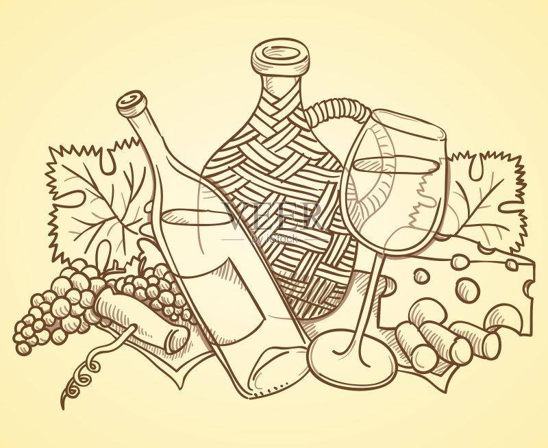 铅笔画 设计 高雅 白色 葡萄酒 肖像 轮廓 瓶子 叶子 概念和主题 植物 式图片