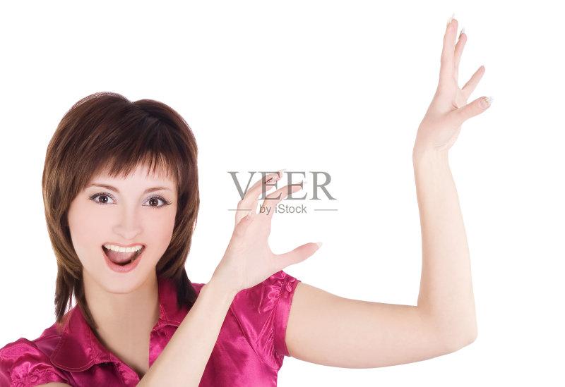特 白色背景 模仿 白人 手臂 女性 表现积极 微笑 美 仅一个青年女人
