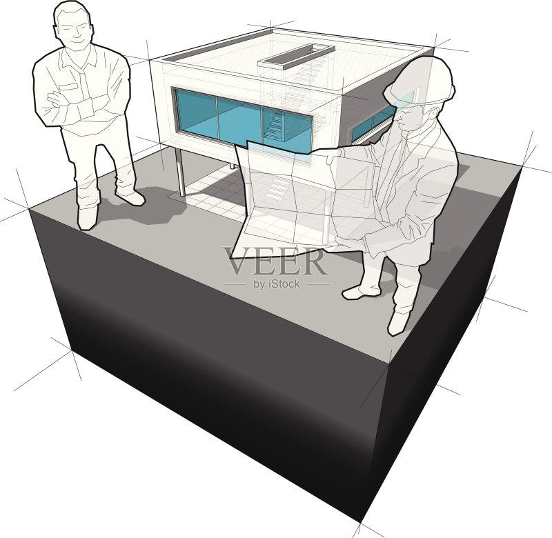 做计划 建筑模型 绘画插图 头饰