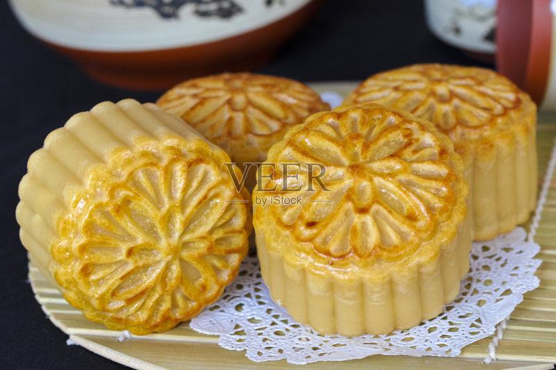食品 装饰 月饼 杯 蛋黄 背景 甜点心 烘 面包店 原生态文化 美味 月亮