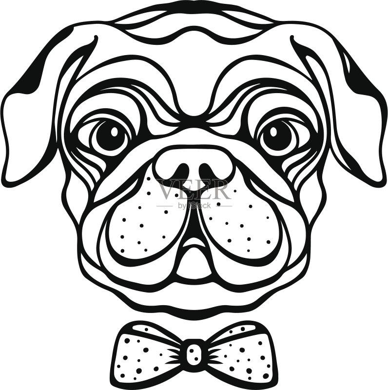印刷 小的 计算机制图 剪贴画 犬科的 时尚 宠物 绘画插图 狗 标志 线