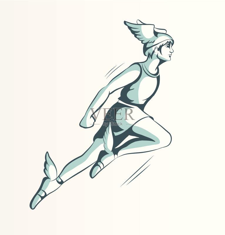铅笔画 人 仅一个青年男人 白色 卡通 想法 符号 男性 神 迅速 商业之神图片