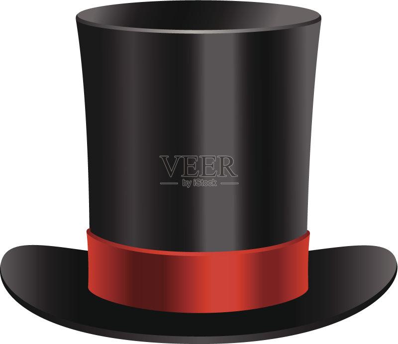 红色 帽子 圆柱体 古典式 黑色 复古风格 矢量 魔术师 组物体图片