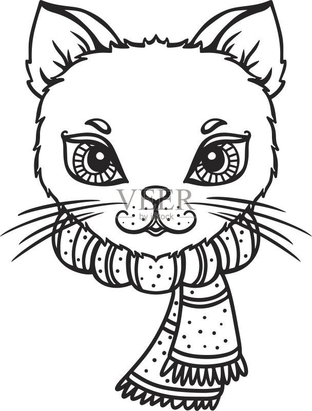剪贴画 性格 时尚 宠物 可爱的 绘画插图 友谊 猫 腮须 标志 线条画 动