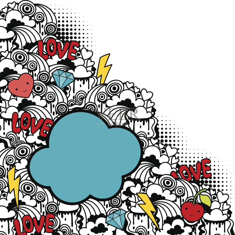 背景 性格 涂鸦 文字 幽默 日本漫画风格 可爱的 绘画插图 闪电 美术工图片