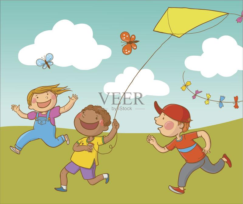 教育 女性 小学 云 剪贴画 云景 幼儿园 多种族 进行中 蝴蝶 男孩 非裔
