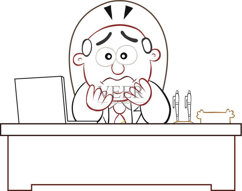 铅笔画 人 正式商务服装 白色 卡通 看 男性 笔记本电脑 白色背景 情感