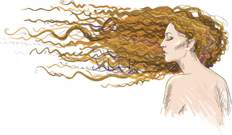 铅笔画 高雅 女人 裸体 美 绘画插图 发型 风 红色 卷发 头发 美发用品 图片
