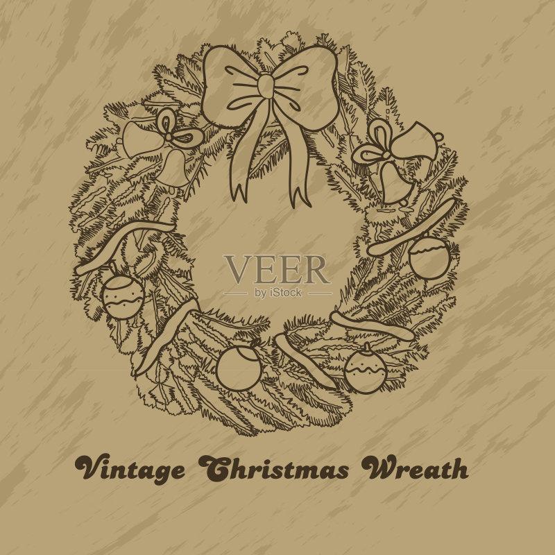 铅笔画 节日 设计 文化 冬天 圣诞树 符号 式样 花卉花环 枝 画画 花环 图片