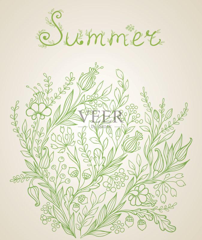铅笔画 时尚 设计 绿色 绘画插图 开花植物 叶子 请柬 植物 花头 橡树叶 图片