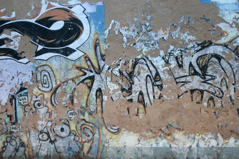 生活 坏掉的 涂鸦 过时的 墙 摇滚乐 城市 彩色背景 古老的 肮脏的 无人图片