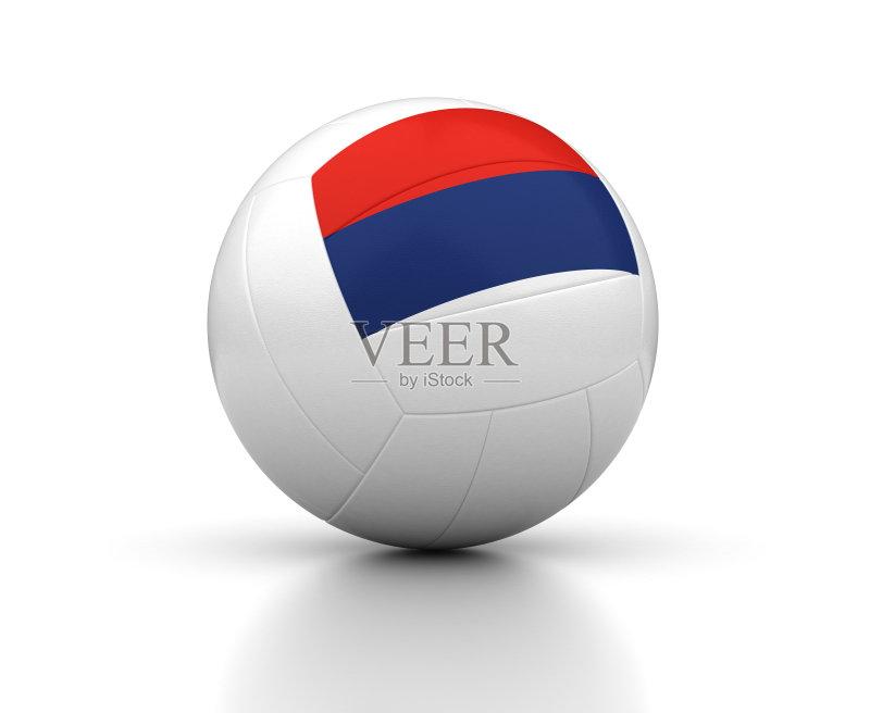 红色 式样 排球 设备用品 形状 白色背景 蓝色 塞尔维亚国旗 运动 国内
