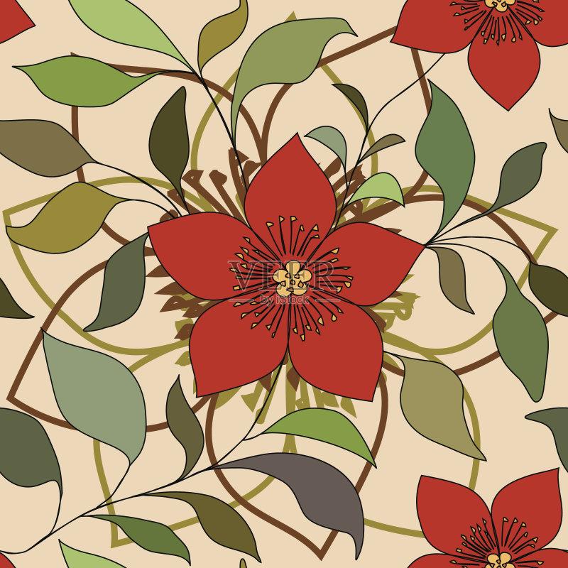 无缝的样式 美术工艺 装饰物 设计元素 艺术 花纹 装饰 华丽的 复古风