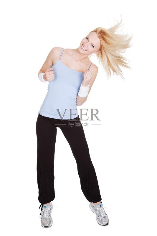 特 白色背景 模仿 尊巴 教师 运动员 运动 舞者 女性 充满的 生活方式