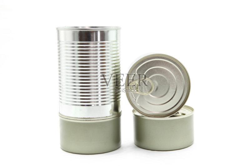 白色背景 银 圆柱体 无人 包装 食品 新的 金属 罐子 金属质感图片