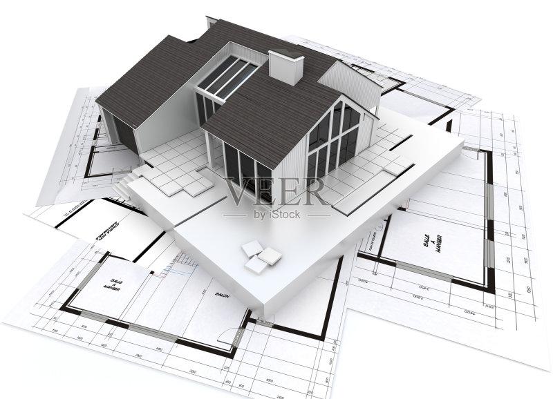 图 设计 建筑模型 白色 绘画插图 发展 建筑业 屋顶 普通住宅区 建筑师