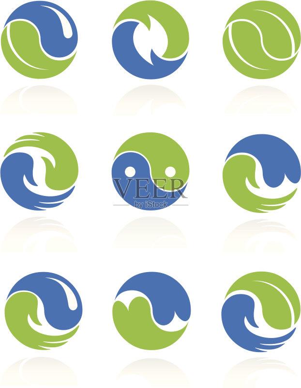 色 绘画插图 图标 图标集 健康生活方式 波浪 标志 蓝色 协调 健康 活力