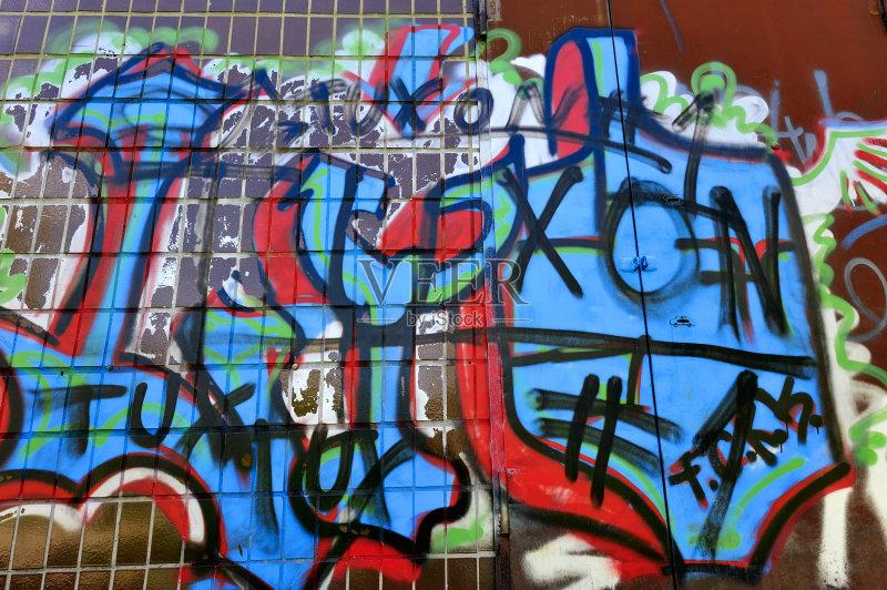 凌乱 红色 涂鸦 灰色 墙 摇滚乐 肮脏的 蓝色 艺术 无人 土路 美国文化 图片