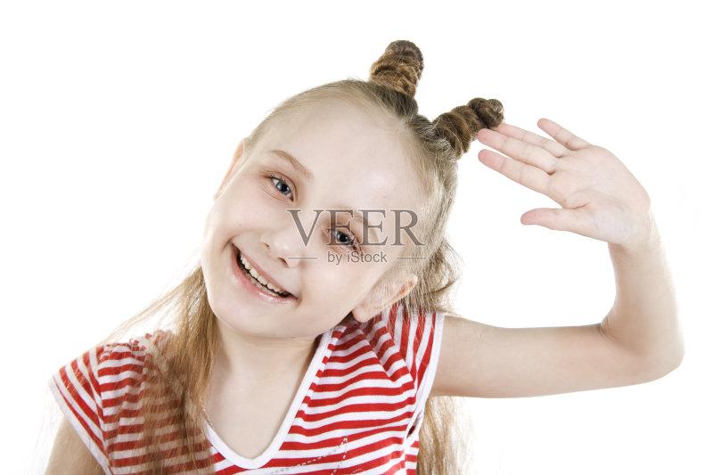 休闲装 问候 白色背景 举起手 白人 情感 儿童 手臂 小的 编发 女生 表