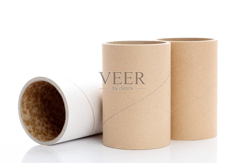 卷起 成品 圆柱体 工业 三维图形 纹理 装管 牛皮纸 空的 布置 影棚拍图片