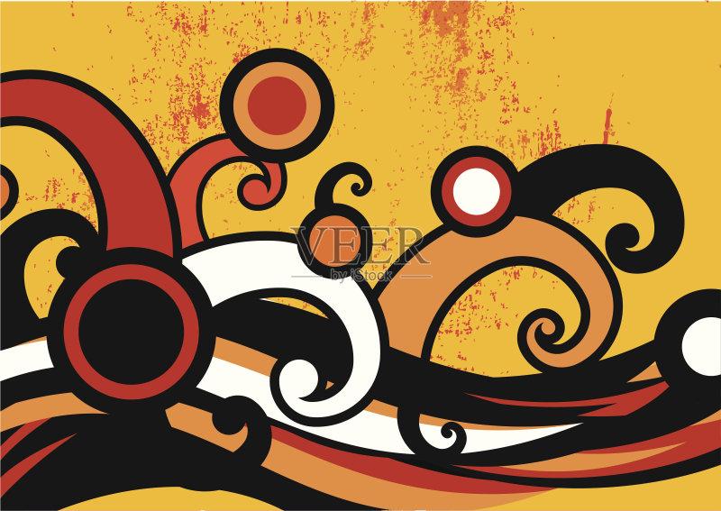 画插图 式样 涂鸦 摇滚乐 形状 城市 舞蹈 聚会 设计元素 复古风格 弯曲图片