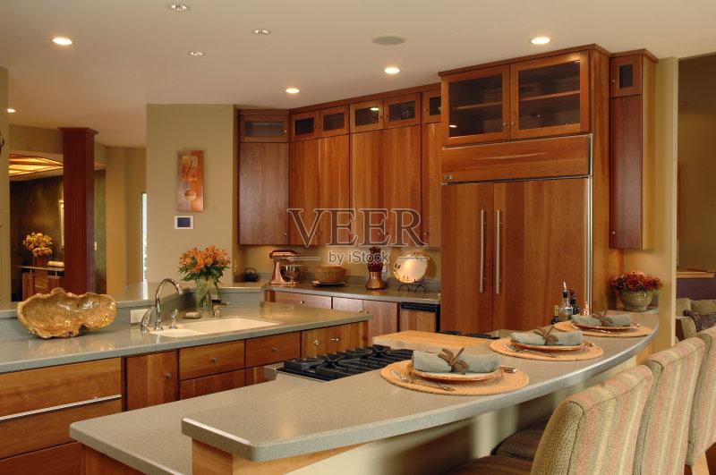 家装饰 柜子 装修 花岗岩 无人 家庭生活 厨房 樱桃木 居住区 灶台 建筑