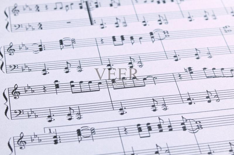 剧表演 无人 古典式 古典乐 高音谱号 钢琴 背景 纸 条纹