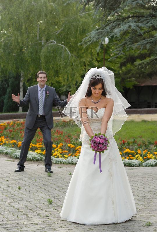 年伴侣 新娘 婚纱 订婚 婚姻 青年人 快乐 伴侣 美人 庆祝 成年人 幸福