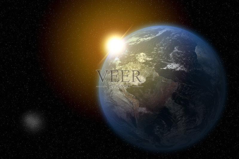 地球-黎明 环境 光 天空 自然 发光 太阳 科学 云 计算机制图 云景 背景