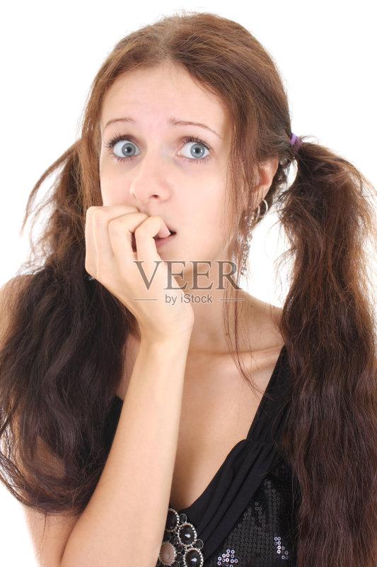 白人 女性 女生 美女 厌倦 可爱的 咬 美 绝望 发型 影棚拍摄 沮丧 做手