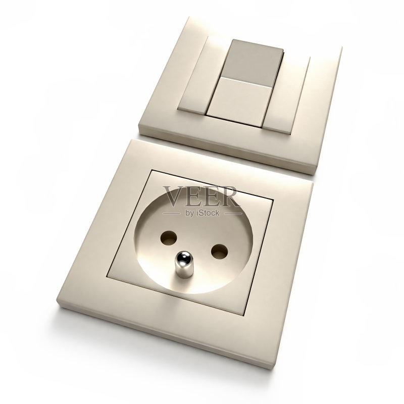 能源 插座 开关 白色 绘画插图 住宅内部 墙 灯开关 电源 无人 三维图