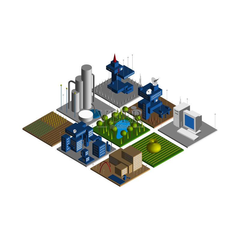无人 市区 模型 建筑外部 技术 沟通 城镇 街道 建筑