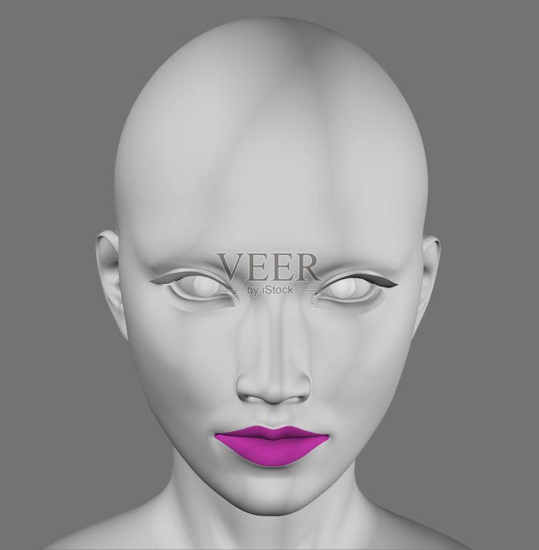 的头部 银色 外星人 仅女人 神秘 洞 女性 科学 美女 计算机制图 想象
