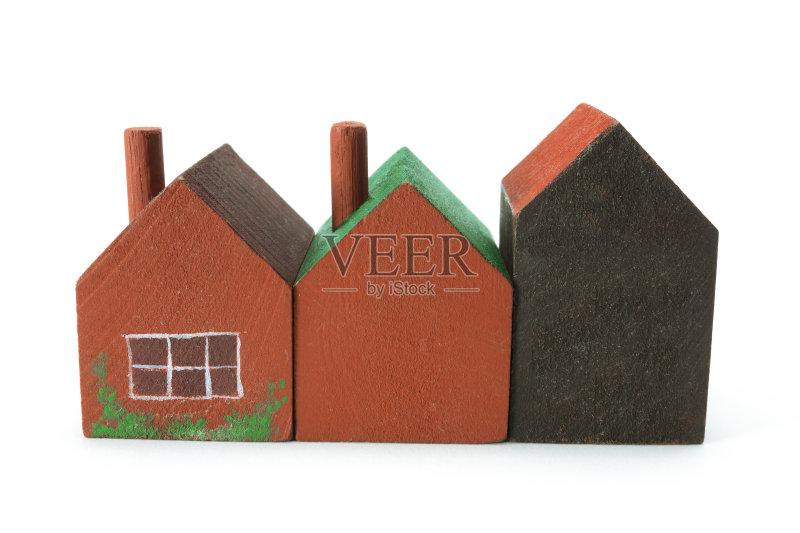 无人 模型 木制 房地产 小雕像 玩具屋 影棚拍摄 房屋 白色背景