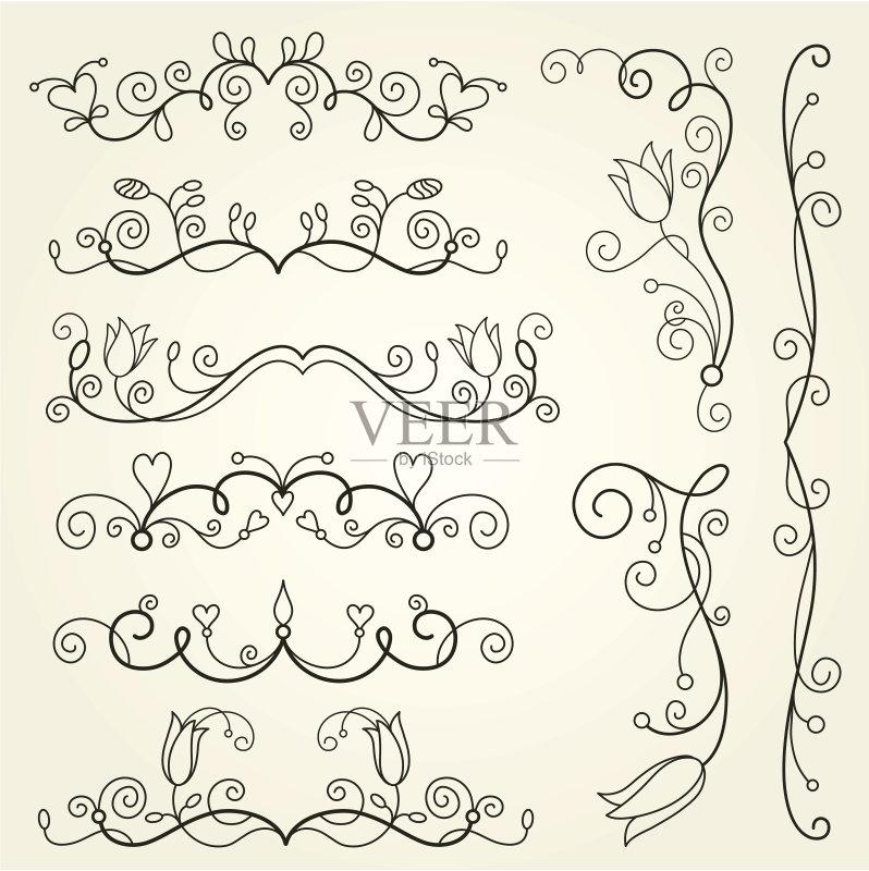画插图 收集 书法 式样 角度 装饰物 线条画 设计元素 无人 古典式 花 图片