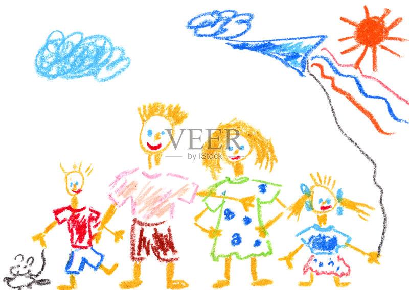 亲 父亲 纸 儿童画 儿女图片