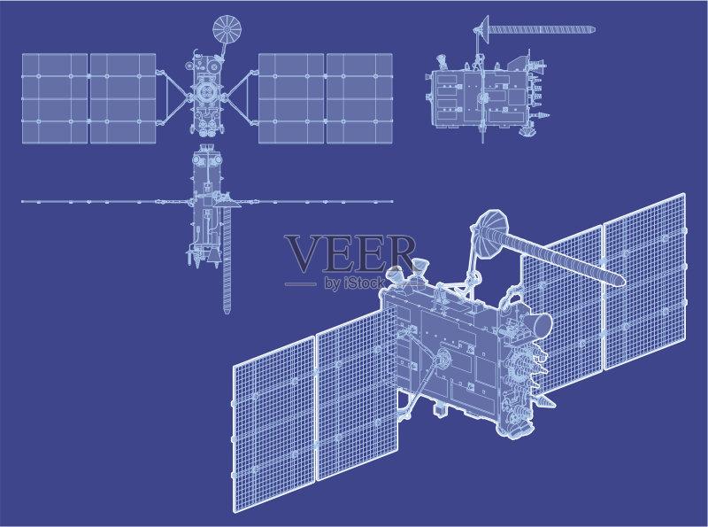 沟通 计划书 蓝图 矢量 放置 格洛纳斯 卫星 方向 全球通讯